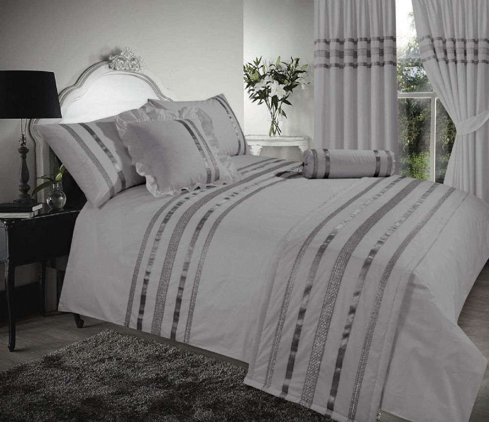 Grey Amp Silver Stylish Sequin Duvet Cover Luxury Beautiful